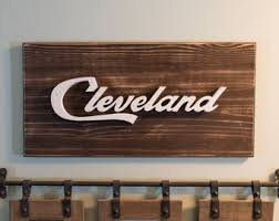 more colors cleveland script wall art handmade wooden  on cleveland wood wall art with cleveland ohio etsy