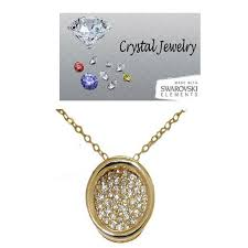 details about pendant swarovski stone circle gold plate pave quality necklace eternity new nwt