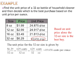 Example Of Unit Price Math In Cte Unit Cost Lesson Ppt Video Online Download