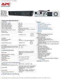 Print Technical Specifications Sua1500rm2u