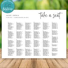 Wedding Seating Chart Staples Editable Minimalist Wedding Seating Chart Instant Download