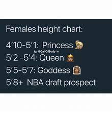 Females Height Chart 410 51 Princess Ig 2 54 Queen 5 515