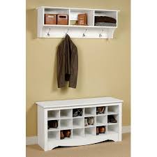 Entryway Coat And Shoe Rack Inspiration Entryway Wall Mount Coat Rack W Shoe Storage Bench In White