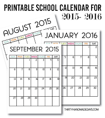 School Calendar Template 2015 2020 Printable School Calendar For 2015 2016 School School
