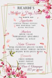 Mother S Day Menu Template Mothers Day Menu Template Postermywall