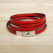 leather bracelet simple red bracelet cuir femme simple 4trs rouge 020
