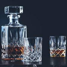 crystal decanter set and whisky glass waterford lismore diamond