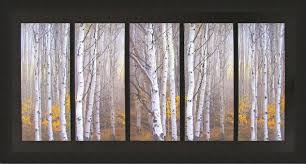order this item online  on birch tree wall art canada with 5 panel birch trees custom design wall decor canvas framed