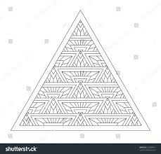 Triangle Design Drawing Easy Pattern Style Zentangle Ornament Coloring Books Stock Vector