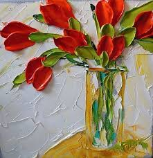 oil painting impasto painting red tulips on by ironsideimpastos 55 00 oil paintings impasto oil
