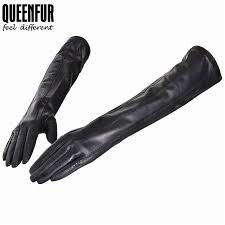 fashion style long leather gloves goatskin genuine leather warm lined black leather gloves women mittens leather gloves
