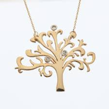 shin tree of life gold pendant with 3 diamonds