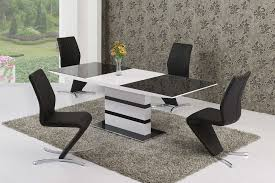 220cm extending black glass white gloss dining table and 6 chairs set