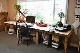 Long window desk made from pallets