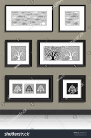 black picture frames wall. Other Paintings In Black Frames On The Wall With Silhouettes Of Trees And Fish Picture R