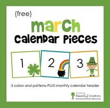 Calendar Numbers For Pocket Chart Freebie March Pocket Chart Calendar Pieces Calendar