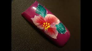 Bright Flower Nail Art Design Tutorial Bright Exotic Flower Nail Art Design Tutorial Youtube
