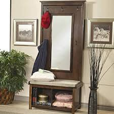 Coat Rack With Mirror And Shelf Amazon 100PerfectChoice Hallway Entryway Hall Tree Bench Coat 45