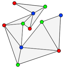 art gallery problem  a 3 coloring of the vertices of a triangulated polygon the blue vertices form a set of three guards as few as is guaranteed by the art gallery theorem