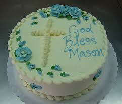 Simple Round Baptism Cakes For Boys With Cross Cake Decor And