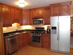 Kitchen Cabinets Refrigerator Astounding L Shaped Oak Polished Wood Kitchen Cabinet With