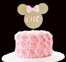 9d5aa8336ec84ed74a f00c407 pink gold minnie mouse cake birthday cake toppers