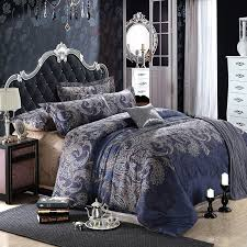 dark blue and grey shabby chic traditional paisley and tribal print 100 egyptian cotton full queen size bedding sets