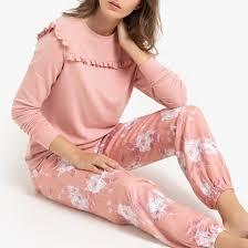 <b>Пижама</b>-пуловер с воланами, низ с цветочным принтом розовый ...