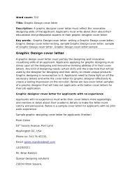 Graphic Design Cover Letter Template Word Graphic Designer Sample