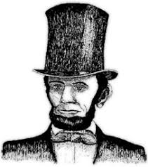abraham lincoln with his hat on in color. abraham lincoln in his top hat with on color