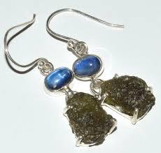 details about genuine czech moldavite blue kyanite 925 silver earrings jewelry jj11688