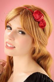 Hairband Hairstyle 50s alice satin hair band with roses in red 5569 by wearticles.com