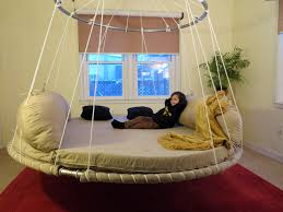 Advanced Design Floating Round Hanging Bed With Upper Ring For