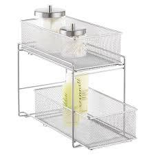 bathroom storage under sink. Silver 2-Drawer Mesh Organizer Bathroom Storage Under Sink