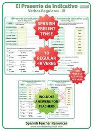 Spanish Present Tense Conjugation Worksheets Regular Ir Verbs