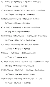 write net ionic equations for 10 reactions that occurred make sure these are representative of the entire data table and not all from the same colum or