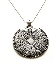 sansar india german silver big round pendant indian necklace jewelry for girls and women cp12iz85jwj