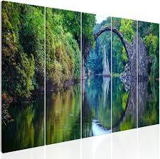 Decomonkey Bilder Landschaft 225x90 5 Teilig Leinwandbilder Bild Auf