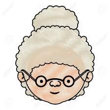 巻き毛のお団子髪とメガネ ベクトル イラスト顔祖母の色クレヨン