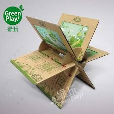 kraft paper desk calendar with green design printed knock down creative diy desk calendar make your desk on the office an impression