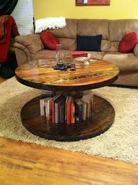 diy round coffee table with far rug and bookshelf also sofa