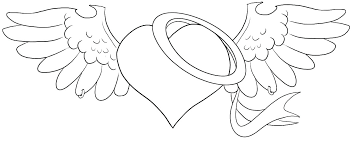 Coloring Pictures Hearts Heart Coloring Pages With Wings Broken Of