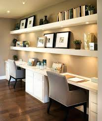 home office with two desks. Home Office Shelving Floating Shelves With Lights Underneath And Two Desks  For A Shared Small Ideas Home Office With Two Desks
