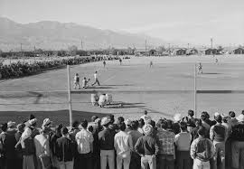 baseball in american concentration camps history photos and  a baseball game at manzanar concentration camp 1943 photo by ansel adams
