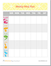 one week menu planner free printable weekly meal plan worksheet nutrition pinterest