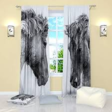 Amazon.com: Factory4me Black and White curtains by Horses. Window ...