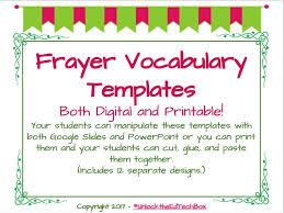 Frayer Frames Digital 12 Interactive Digital Vocabulary Frayer Model Templates Also 12 Printable Versions
