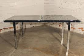 Vintage Milo Baughman Expandable Dining Table Chrome and Smoked Glass