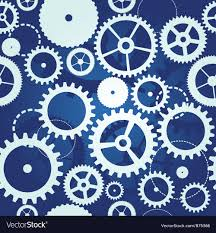 Gear Pattern Amazing Blue Seamless Pattern With Cogs And Gears Vector Image