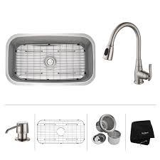 kpf sn kitchen faucet  kraus    inch undermount single bowl stainless steel kitchen sink wit